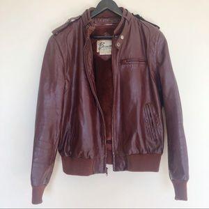 Vtg Berman's Cafe Racer Leather Biker Jacket 42